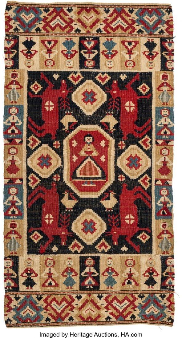 62094: A Swedish Wool Kilim Rug 3 feet-6 inches x 1 foo