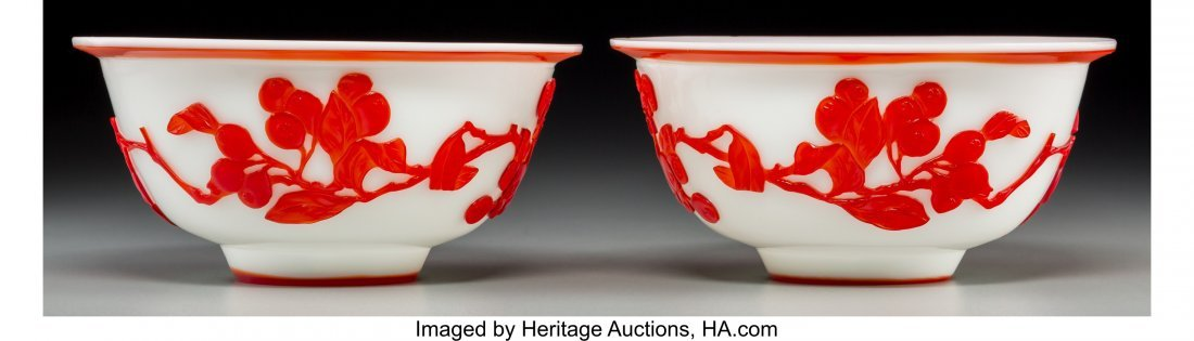 62131: A Pair of Chinese Peking Red Overlay White Glass