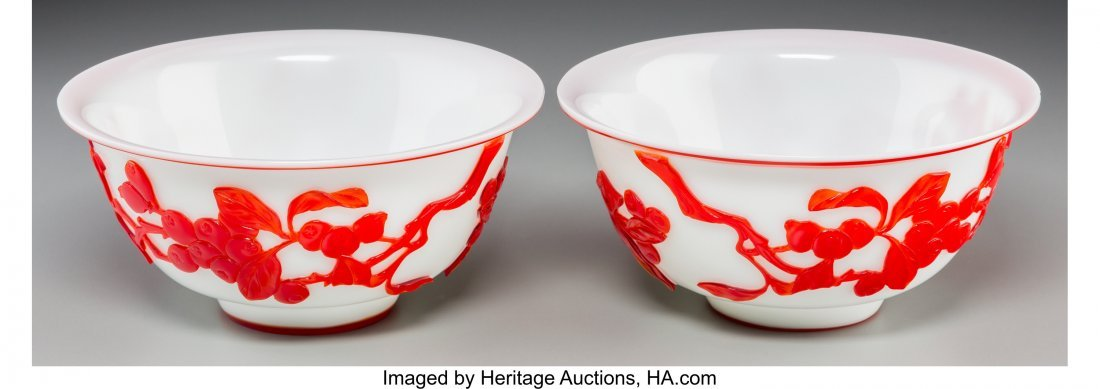 62131: A Pair of Chinese Peking Red Overlay White Glass - 2