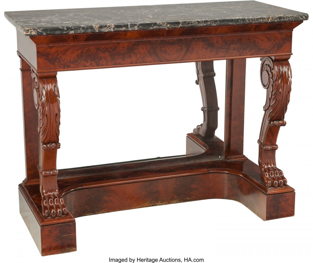 62104: An Empire Mirrored Pier Table with Marble Top, 1