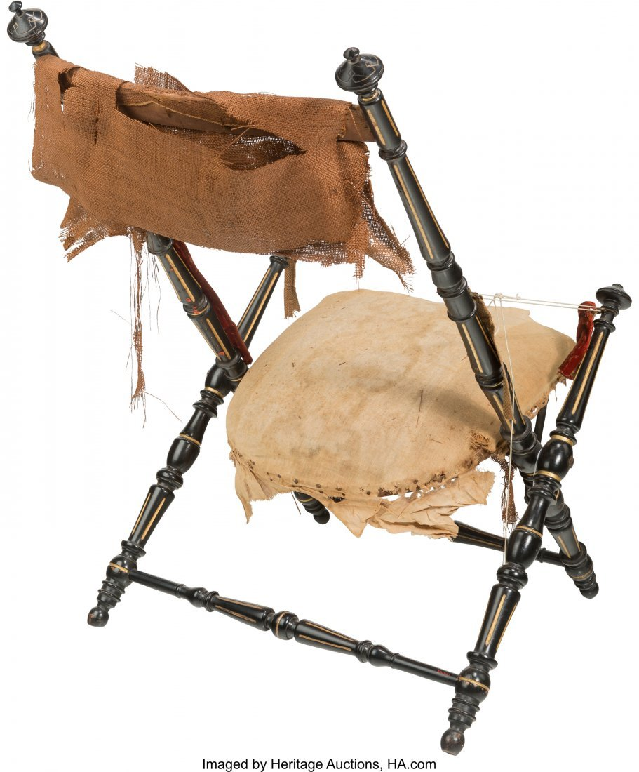 62112: An American Aesthetic Movement Folding Chair, in - 3