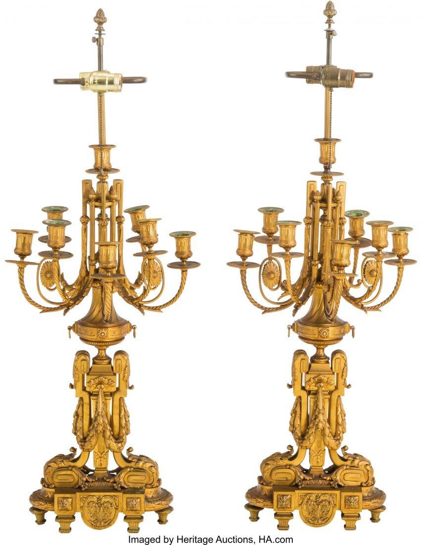 62114: A Pair of Louis XVI-Style Gilt Bronze Seven-Ligh