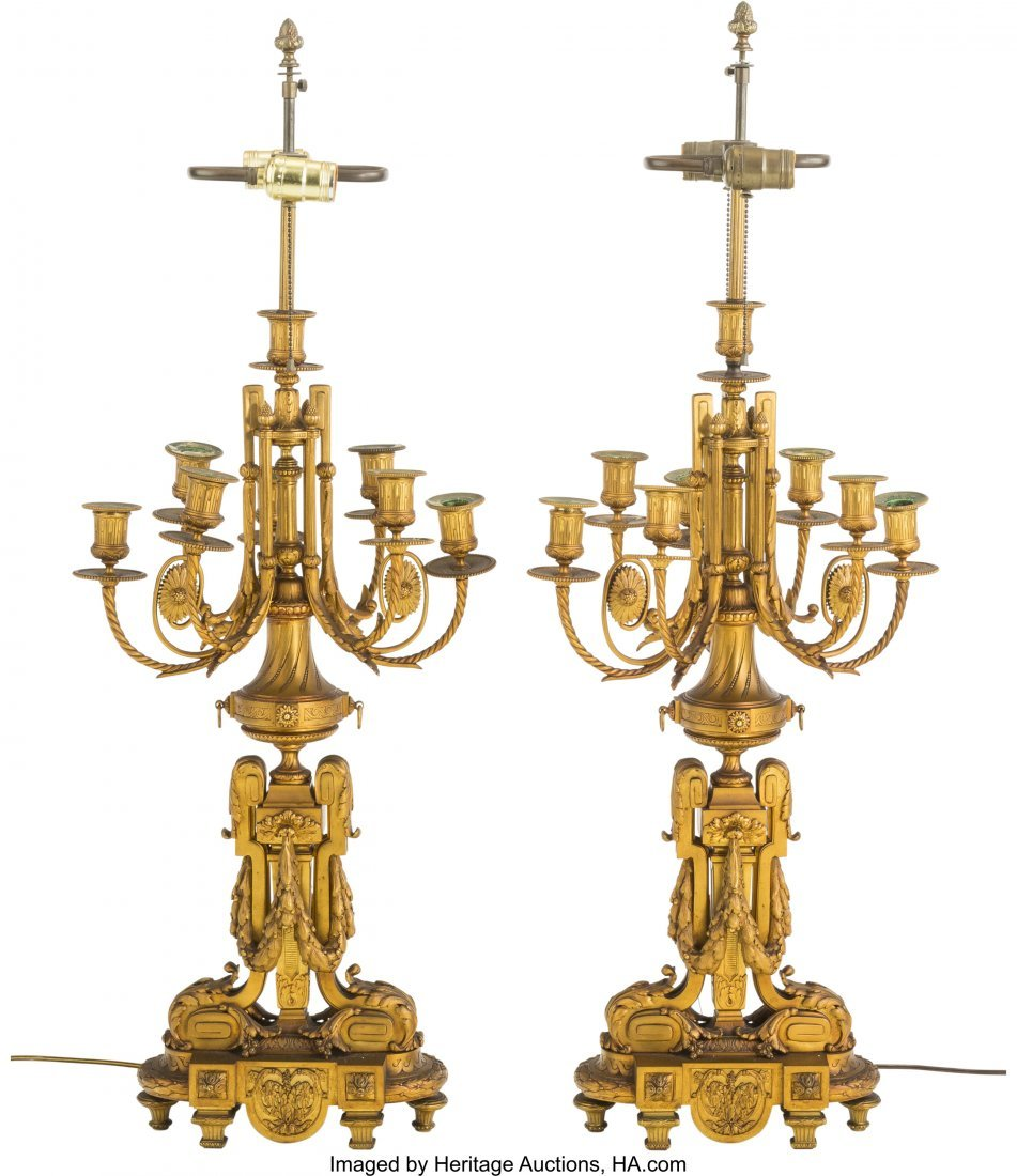 62114: A Pair of Louis XVI-Style Gilt Bronze Seven-Ligh - 2