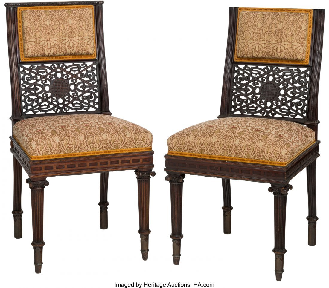 62115: A Pair of English Aesthetic Movement Upholstered