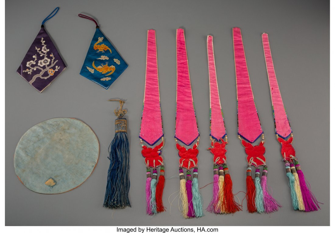 62120: A Group of Nine Chinese Embroidered Silk Ornamen - 2