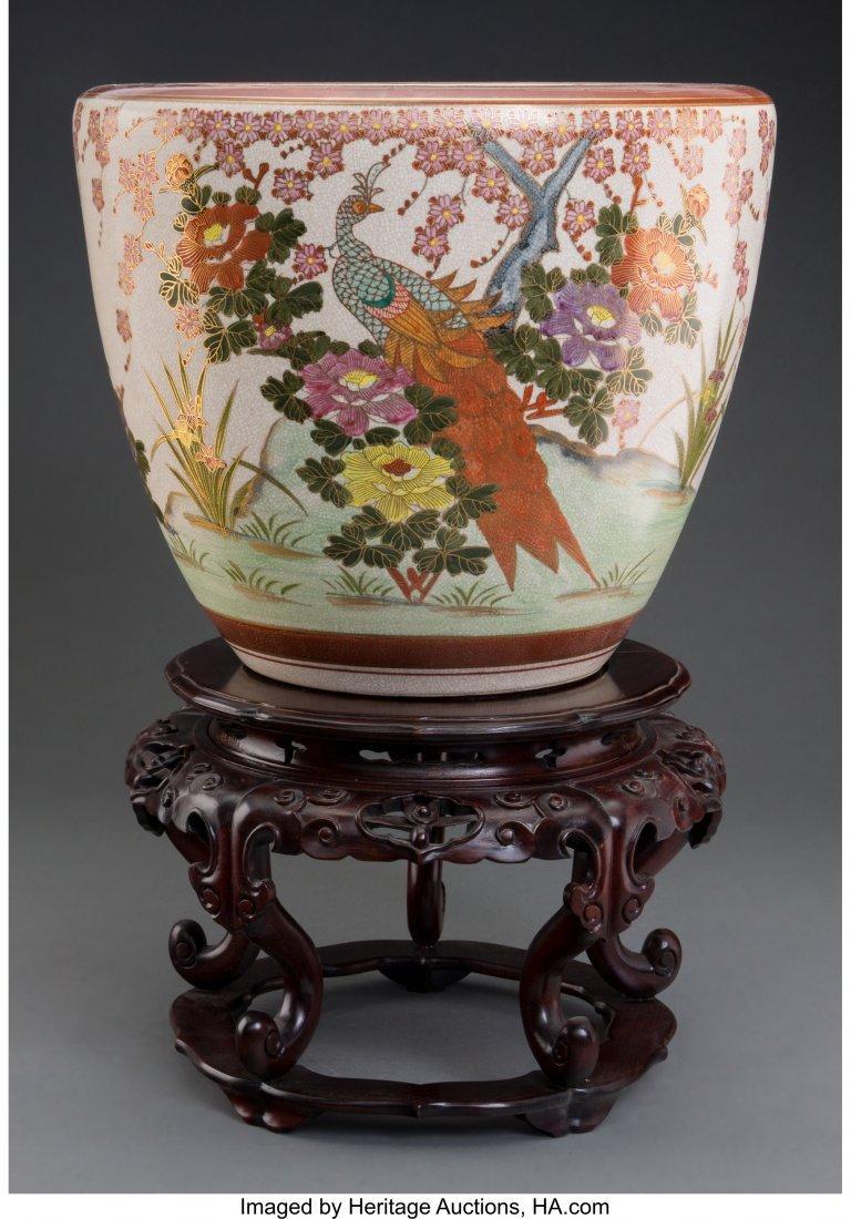 62144: A Japanese Satsuma Fishbowl Jardinière on Chine