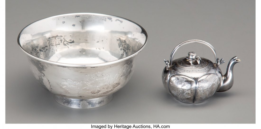 62145: Two Chinese Export Silver Articles: Bowl and Min - 2