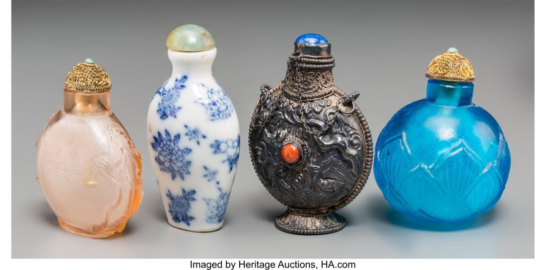 62146: Four Chinese Silver, Porcelain, and Glass Snuff