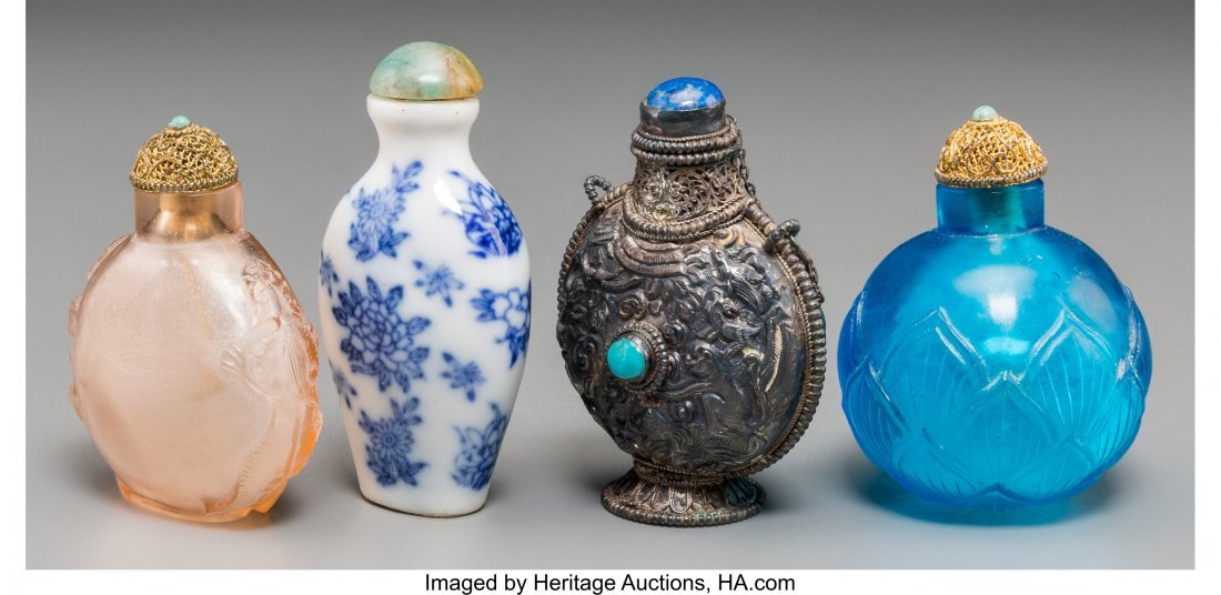 62146: Four Chinese Silver, Porcelain, and Glass Snuff - 2