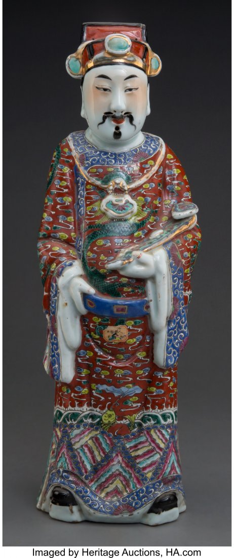 62150: A Chinese Enameled Porcelain Figure of a Male Sc