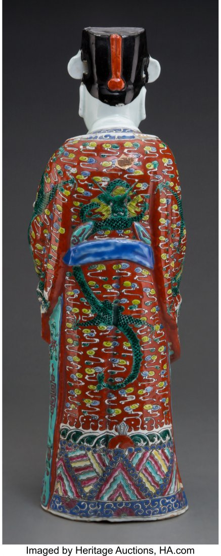 62150: A Chinese Enameled Porcelain Figure of a Male Sc - 2