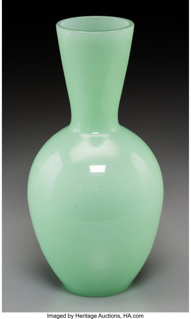 62152: A Chinese Celadon Peking Glass Vase 10-1/4 inche