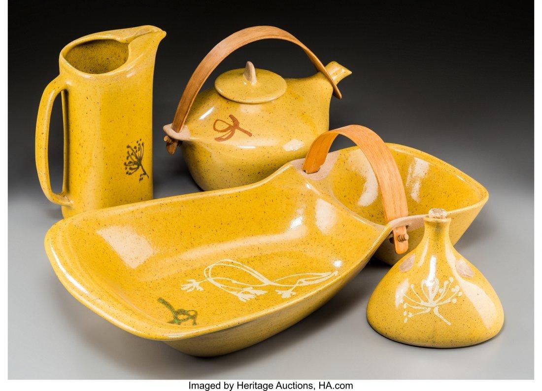 62243: Four Glidden Pottery Yellow Glazed Stoneware Ves