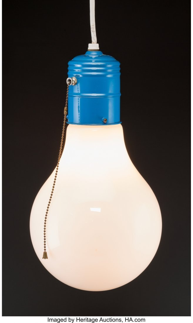 62251: A Large Enameled Metal and Glass Bulb Lamp After