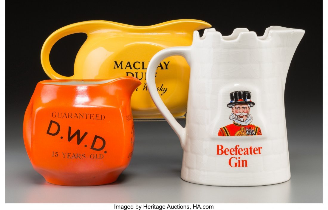 62253: Three Scotch and Gin-Related Ceramic Pitchers, 2