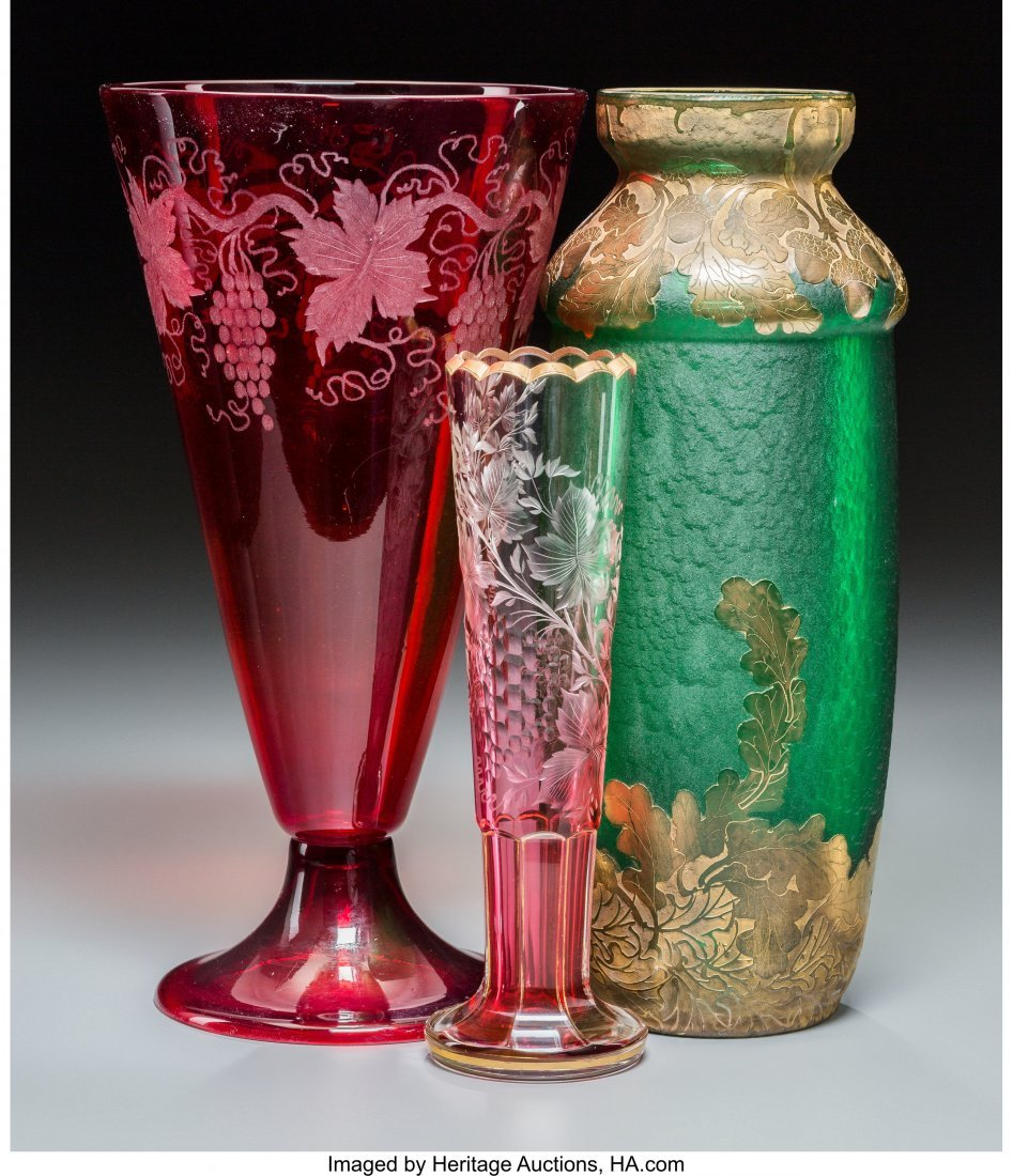 62259: Three Victorian Glass Vases 12 inches high x 6-1