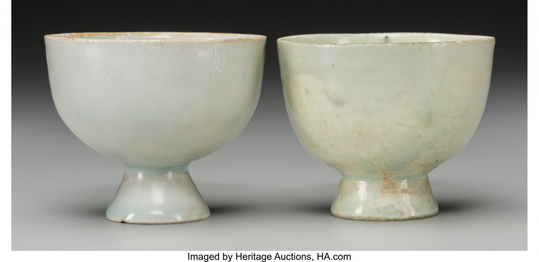 62181: A Pair of Chinese Qingbai Ware Cups 2-3/8 h x 2-