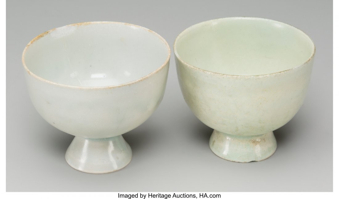 62181: A Pair of Chinese Qingbai Ware Cups 2-3/8 h x 2- - 2