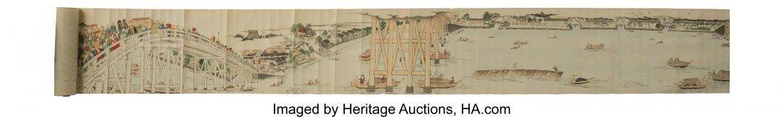 62183: A Very Long apanese Ukiyo-e Style Painted Handsc