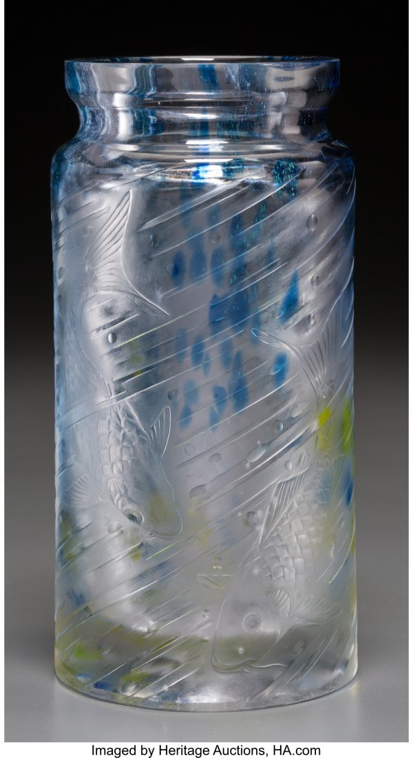 62271: A Muller Freres Glass Fish Vase 8 inches high x
