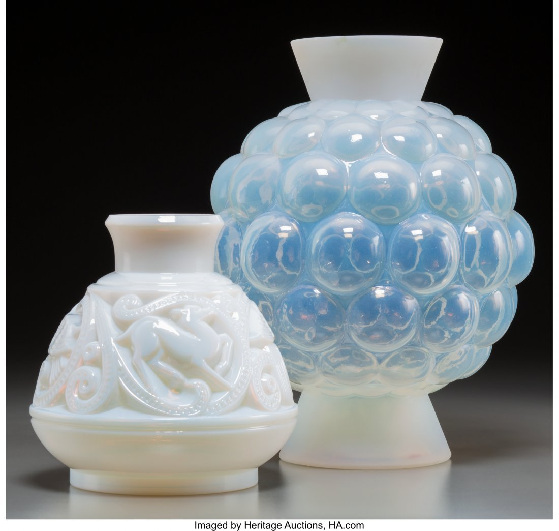 62272: Two Pierre d'Avesn Opalescent Glass Vases 11 inc