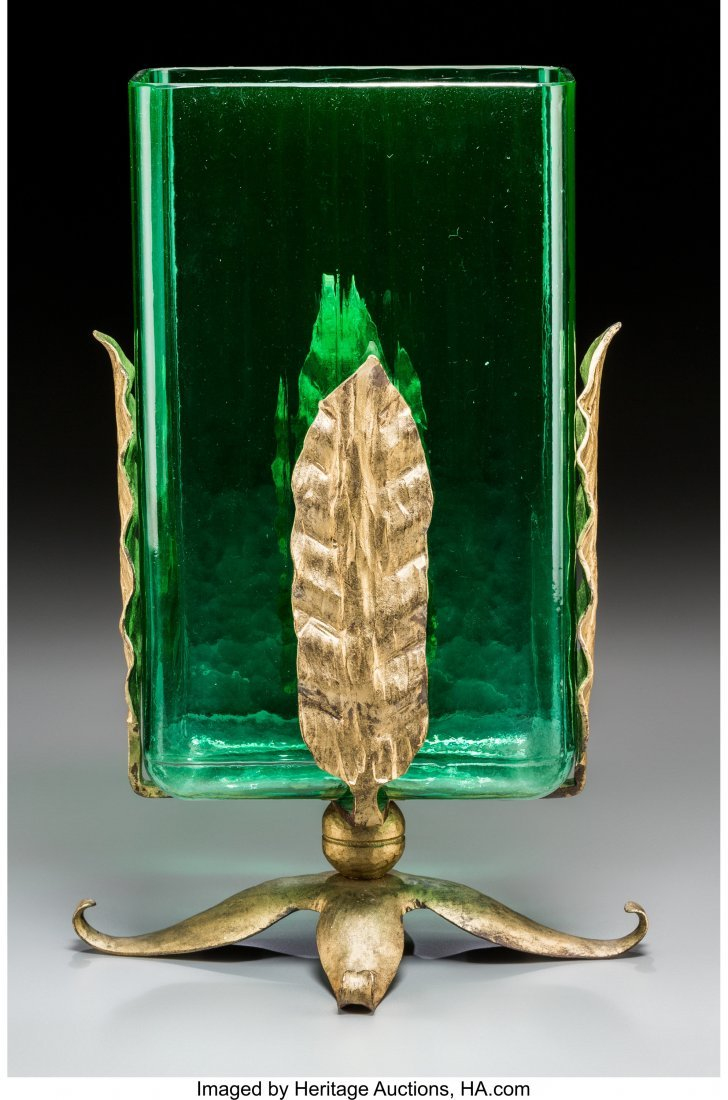 62277: A Steuben Green Glass Vase with Gilt Metal Mount