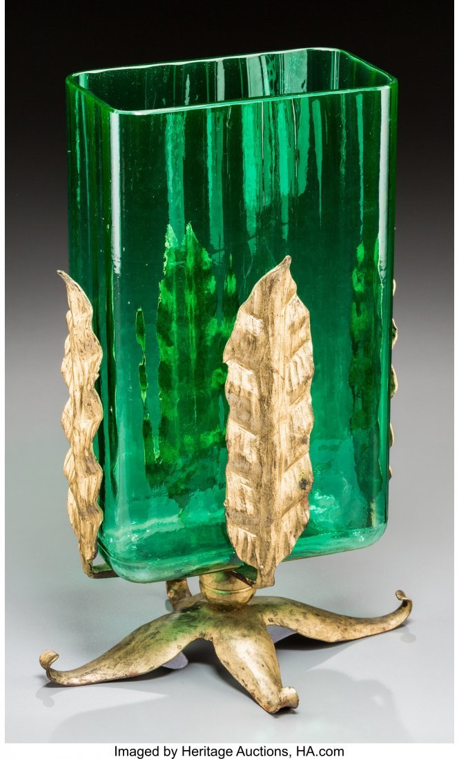 62277: A Steuben Green Glass Vase with Gilt Metal Mount - 2