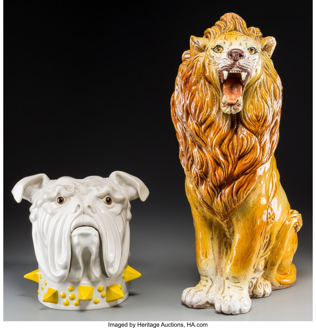 62198: An Italian Terracotta Floor Lion with Mancioli C