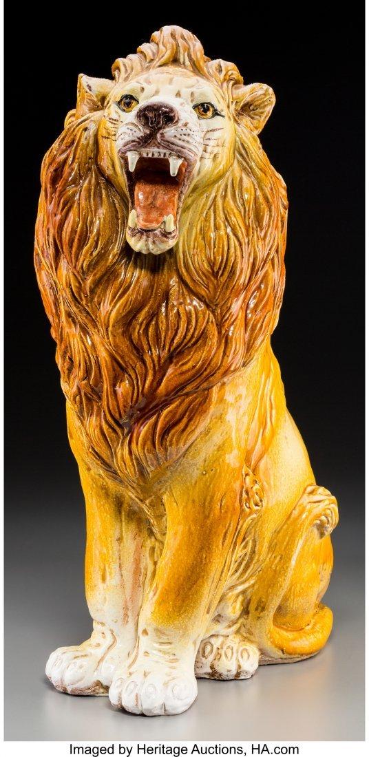 62198: An Italian Terracotta Floor Lion with Mancioli C - 2
