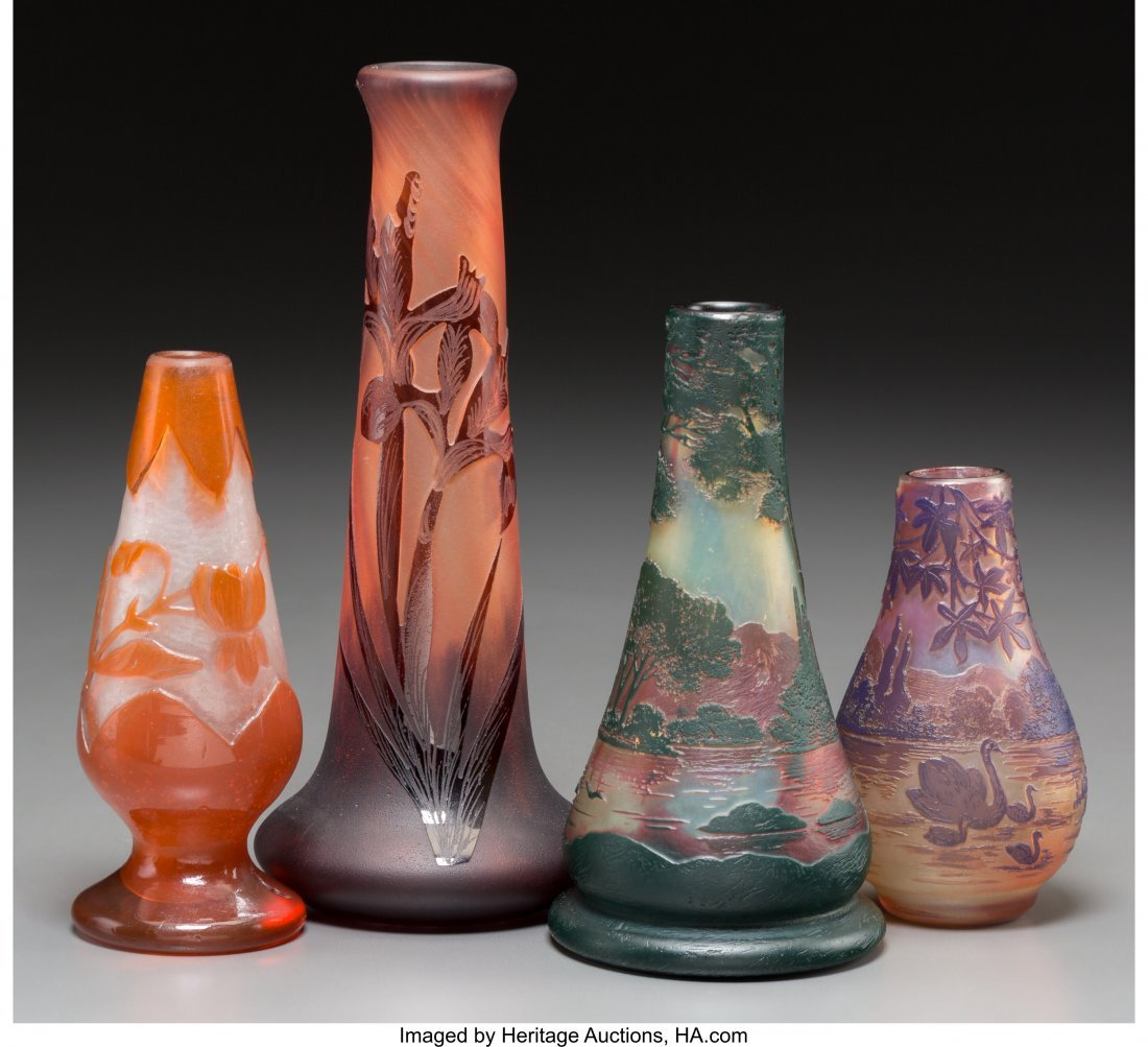 62293: Four Devez, Muller, and La Rochere Overlay Glass