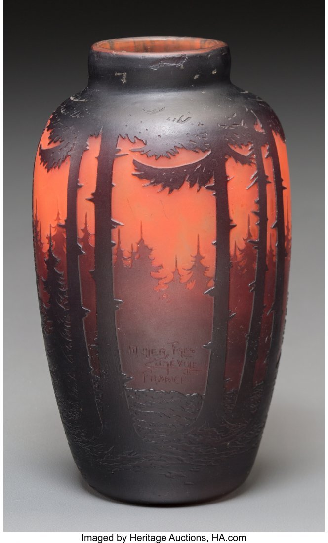 62294: A Muller Freres Overlay and Mottled Glass Landsc - 2