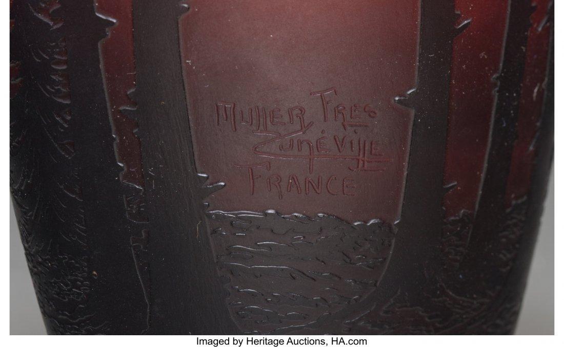 62294: A Muller Freres Overlay and Mottled Glass Landsc - 3