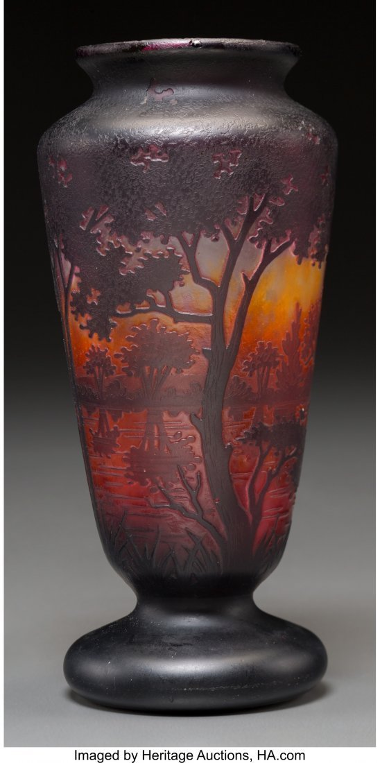 62295: A Daum Overlay and Mottled Glass Landscape Vase,