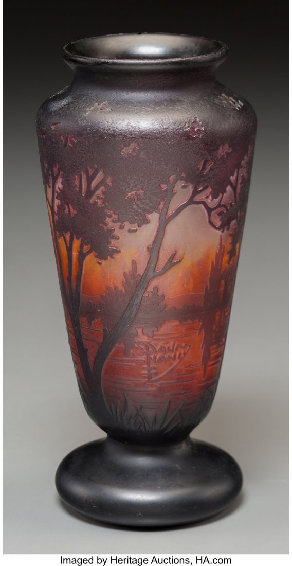 62295: A Daum Overlay and Mottled Glass Landscape Vase, - 2