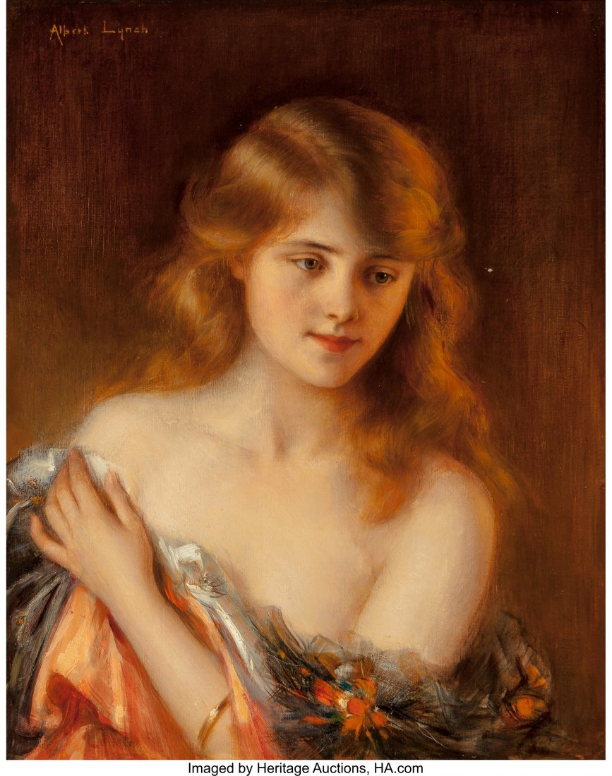 69013: Albert Lynch (Peruvian, 1851-1912) Reverie Oil o