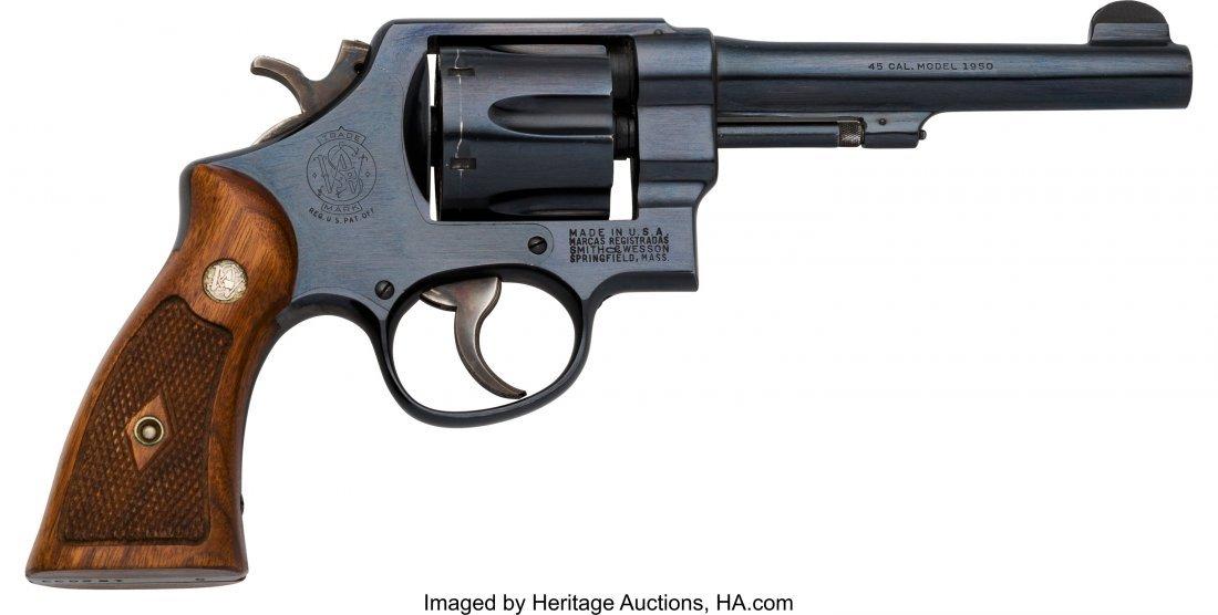 40124: Boxed Smith & Wesson 1950 Military Model 22 Doub