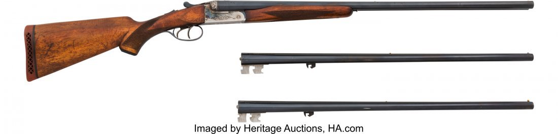 40431: Engraved Armas Bost / Ames Double Barrel Shotgun