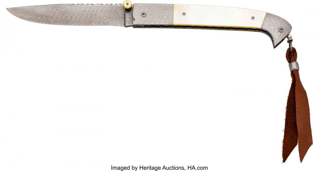 40442: Jerry Rados Damascus Lock Blade Folding Knife.   - 2