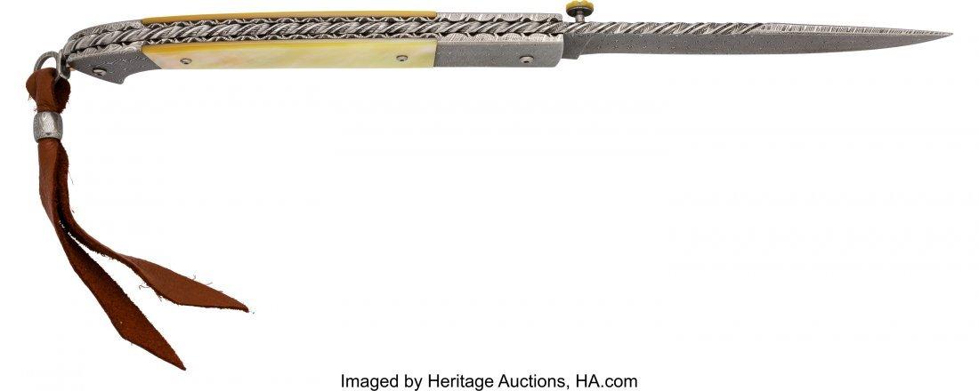 40442: Jerry Rados Damascus Lock Blade Folding Knife.   - 3