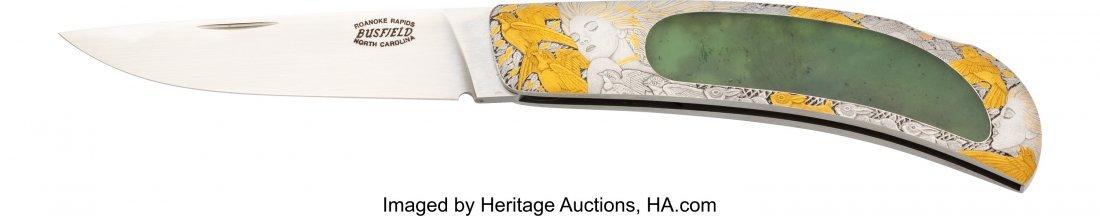 40449: Engraved Jack Busfield Lock Blade Folding Knife. - 2