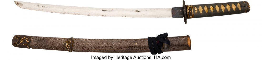 40265: Japanese Wakizashi. 17-inch blade. One hole in t - 2