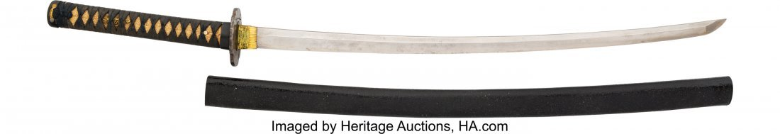 40269: Japanese Katana. 26-inch curved blade, 36-inches