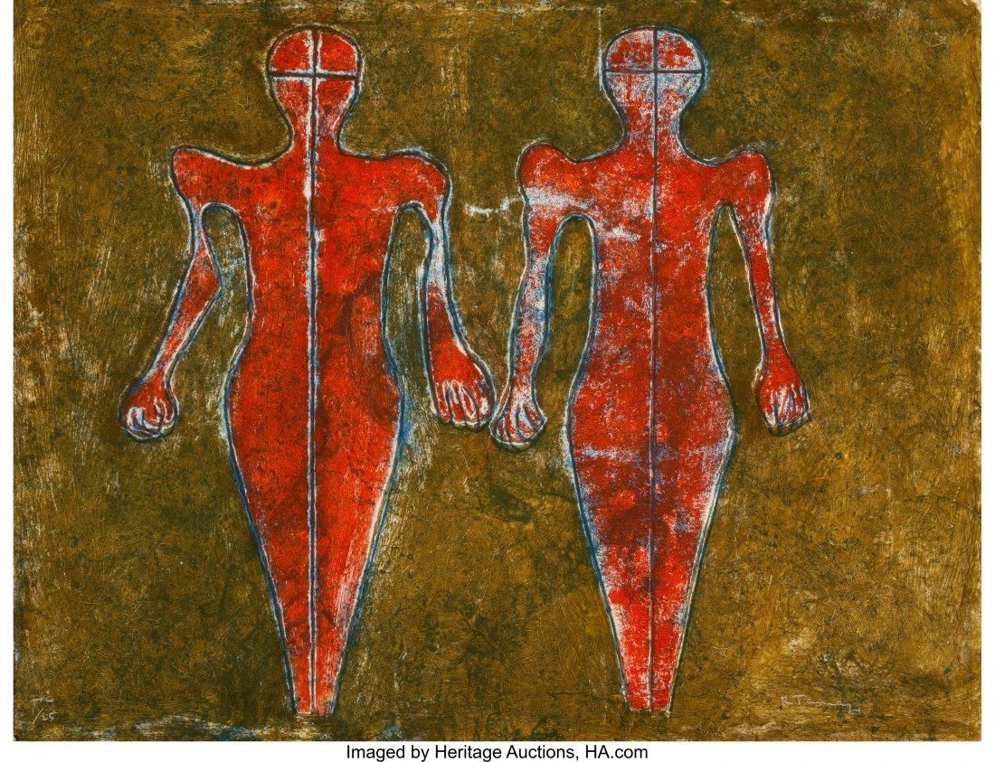 11130: Rufino Tamayo (1899-1991) Dos Figuras, 1976 Mixo