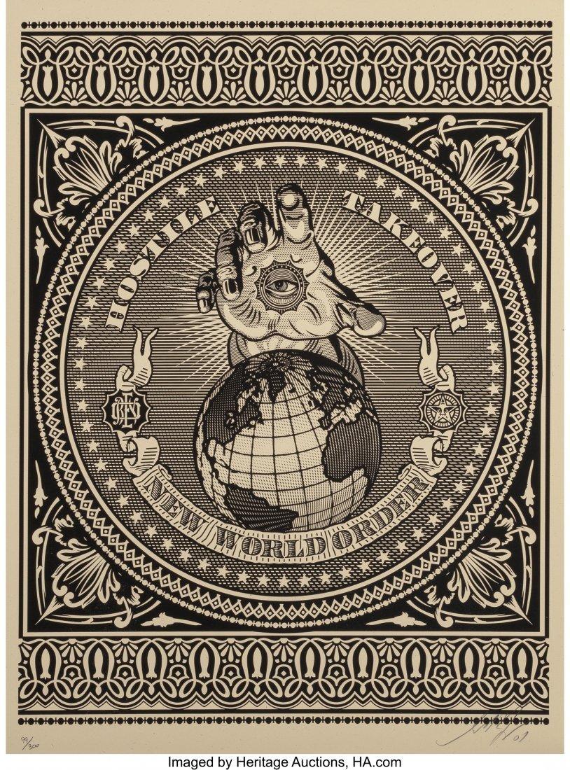 11054: Shepard Fairey (b. 1970) Hostile Takeover (Black