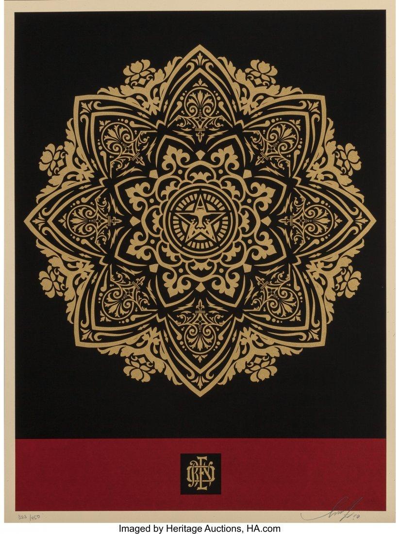 11059: Shepard Fairey (b. 1970) Mandala Ornament (Red a