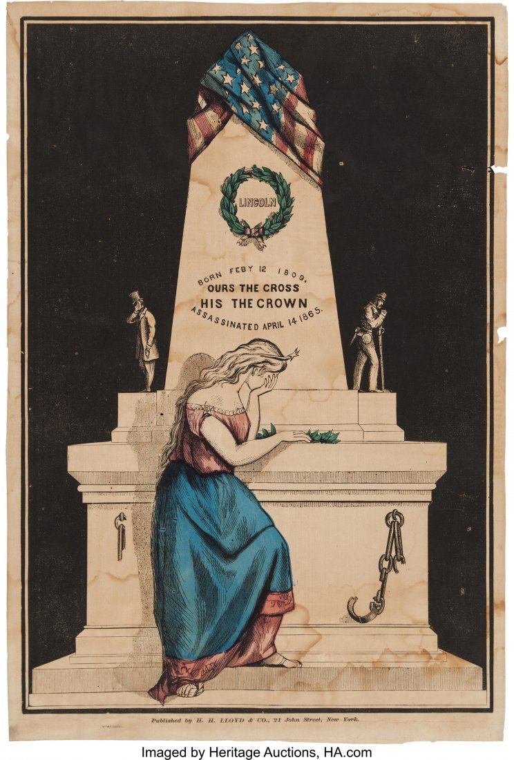43191: Abraham Lincoln: Hand-Colored Memorial Print. 12