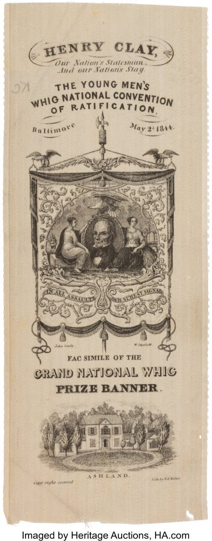 """43096: Henry Clay: Wide, Elaborate """"Prize Banner"""" Nomin"""