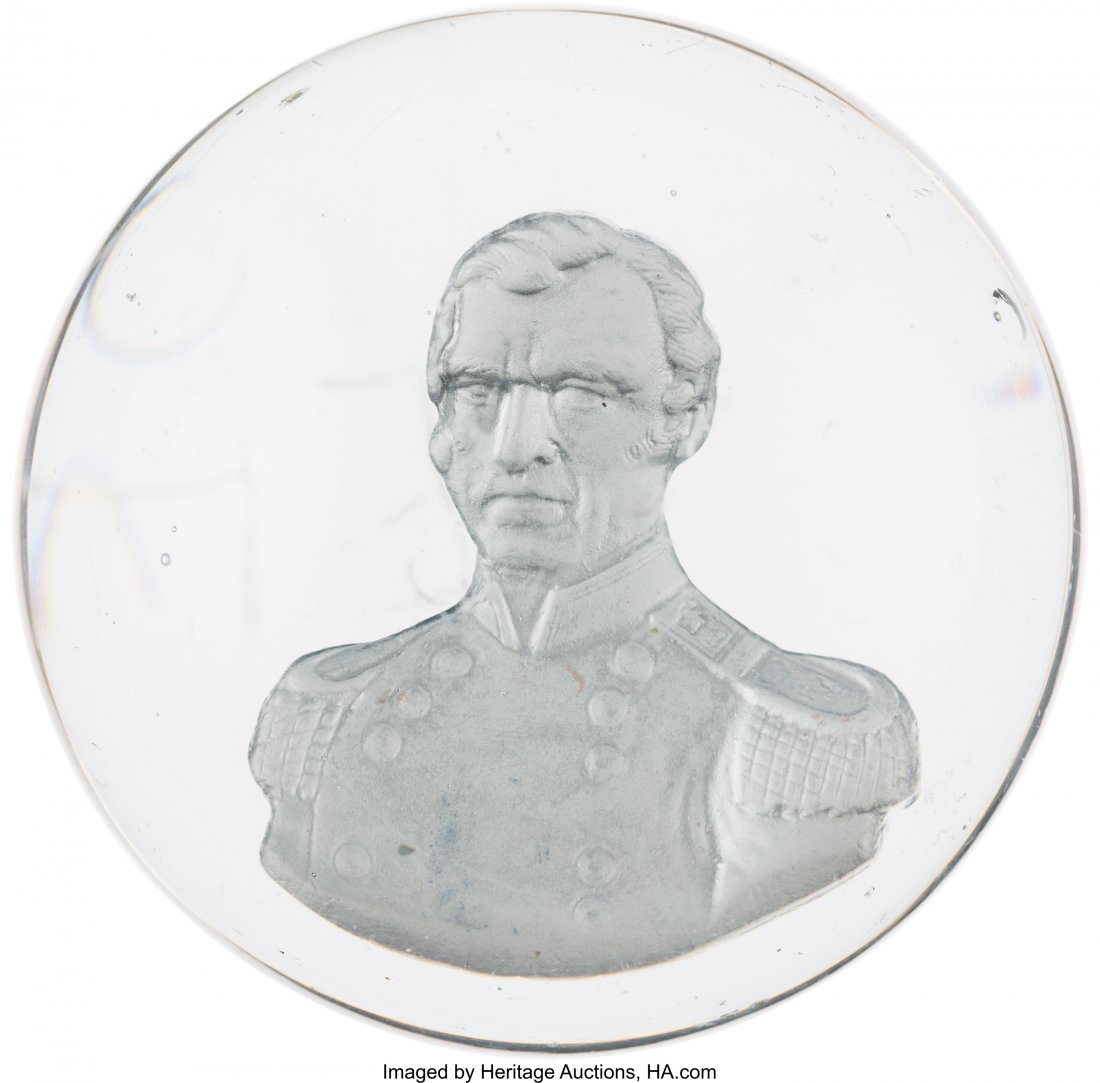 43100: Zachary Taylor: Clear Glass Sulphide Paperweight