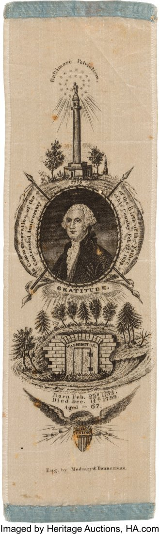 43006: George Washington: An Exceptional 1832 Ribbon Ce