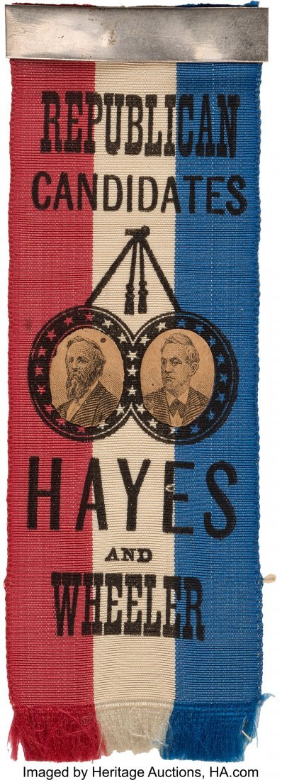 43295: Hayes & Wheeler: Rare Jugate Ribbon with Applied